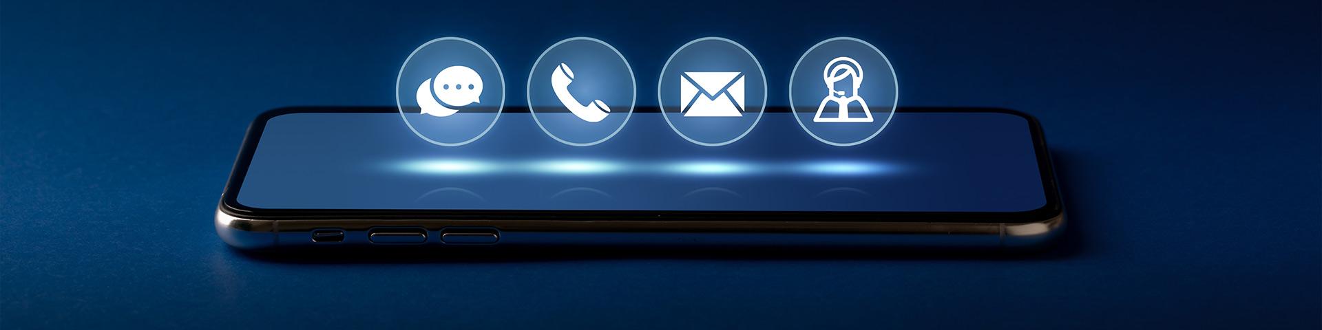 بنر پشتیبانی سایت فروش لوازم خانگی شرکت امیران استیل تصویر صفحه موبایل آیکون های راه های ارتباطی تلفن موبایل ایمیل چت عکس استفاده شده در سایت فروشگاه اینترنتی لوازم خانگی امیر استیل