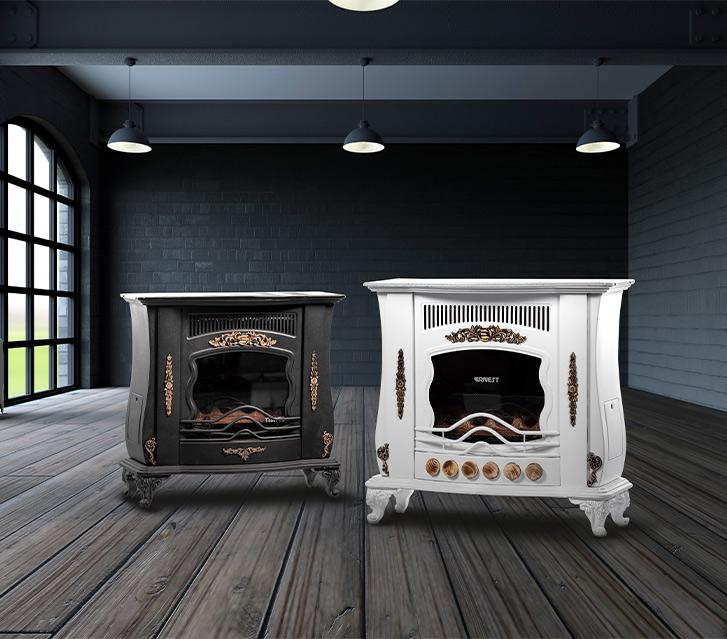 بخاری گازی طرح شومینه ای برند ارنست در اتاق پذیرایی تیره با کف MDF چوبی عکس استفاده شده در سایت فروشگاه لوازم خانگی myernest.com
