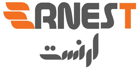 لوگوی برند لوازم خانگی ارنست به انگلیسی و فارسی عکس استفاده شده در سایت فروشگاه لوازم خانگی myernest.com