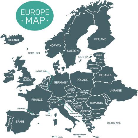 نقشه اروپا به رنگ طوسی و به صورت طرح وکتور عکس استفاده شده در سایت فروشگاه لوازم خانگی myernest.com