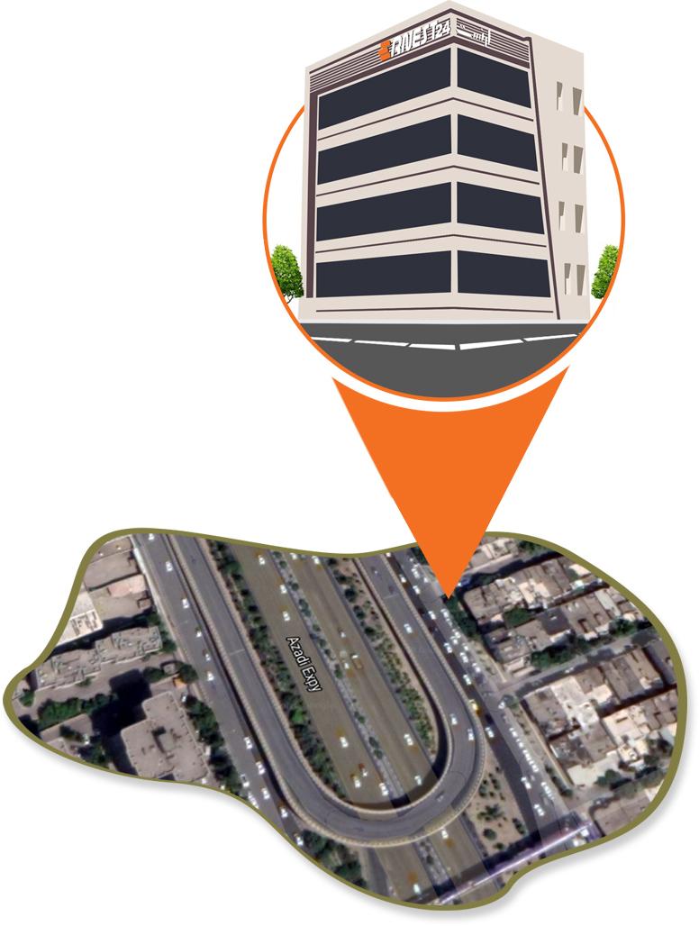 ساختمان ارنست نمایندگی فروش شرکت امیران استیل تصویر وکتور ساختمان روی نقشه عکس استفاده شده در سایت فروشگاه اینترنتی لوازم خانگی امیر استیل