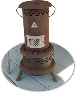 بخاری نفتی یا روغن سوز قدیمی به رنگ قهوه ای عکس استفاده شده در سایت فروشگاه لوازم خانگی myernest.com