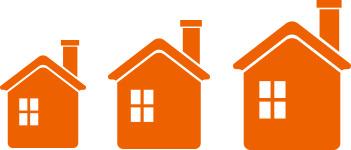سه خانه در اندازه های مختلف طرح وکتور عکس استفاده شده در سایت فروشگاه لوازم خانگی myernest.com