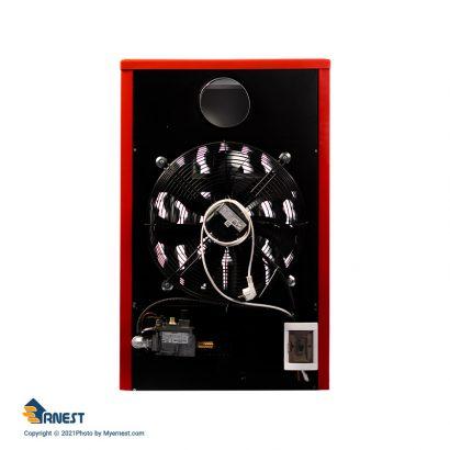 هیتر گازی 45000 ارنست مدل پاپیون مجهز به ترموستات محیطی دیجیتال رنگ قرمز برند ارنست نمای پشت دسته تهویه مطبوع - هیتر عکس استفاده شده در سایت فروشگاه اینترنتی لوازم خانگی مای ارنست