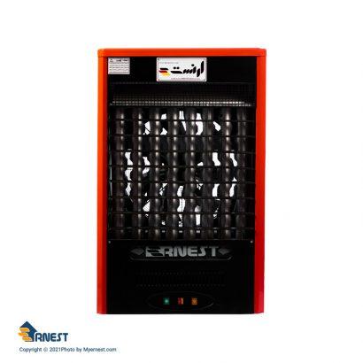 هیتر گازی 45000 ارنست مدل پاپیون مجهز به ترموستات محیطی دیجیتال رنگ قرمز برند ارنست نمای روبروی کالا دسته تهویه مطبوع - هیتر عکس استفاده شده در سایت فروشگاه اینترنتی لوازم خانگی مای ارنست