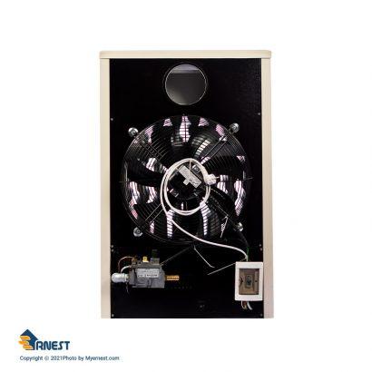 هیتر گازی 45000 ارنست مدل پاپیون مجهز به ترموستات محیطی دیجیتال رنگ سفید برند ارنست نمای پشت دسته تهویه مطبوع - هیتر عکس استفاده شده در سایت فروشگاه اینترنتی لوازم خانگی مای ارنست