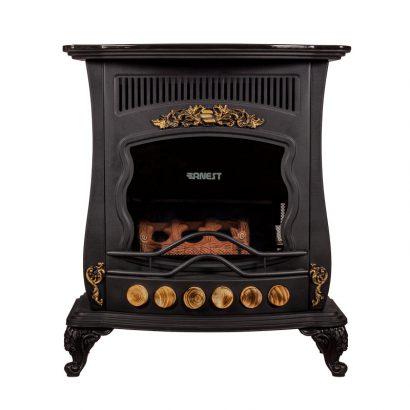 بخاری گازی 24000 ارنست طرح شومینه مدل یزدان 240 رنگ سیاه مشکی برند ارنست نمای روبرو محصول دسته تهویه مطبوع - بخاری گازی عکس استفاده شده در سایت فروشگاه اینترنتی لوازم خانگی مای ارنست myernest.com