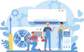 air-conditioning-repair-instalation-service-concept-repairman-installing-examining-repairing-conditioner-with-special-tools-equipment-isolated-vector-illustration-vector-used-in-myernest.com-site